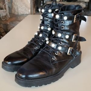 Zara Moto Boots with Pearl Straps size 8